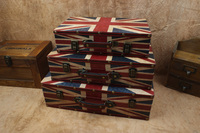 European Creative wooden antique vintage Union Jack flag wooden window display suitcase child photography props