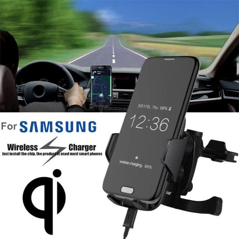 Надежный Ци беспроводной автомобильное Зарядное Устройство Стоять Панель Air Vent Крепление Для Samsung Телефон С 360-градусный вращающийся колыбе…