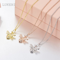 LUKENI New Personality Fashion Women S925 Sterling Silver Micro Inlay Zircon The Bee Necklaces Jewelry