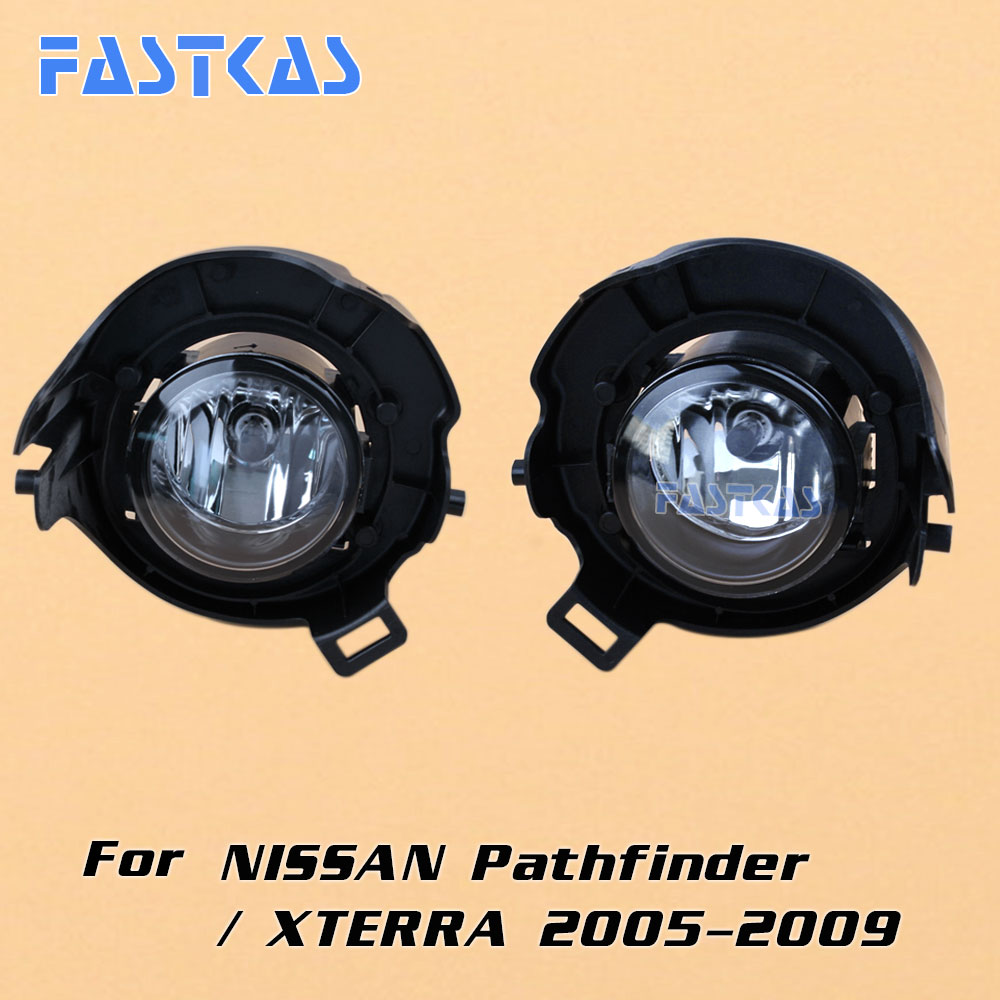 12v Car Fog Light Assembly for Pathfinder / xterra 2005 Front Left and Right set Fog Light Lamp with Harness Relay Fog Light Kit 12v 55w car fog light assembly for ford focus hatchback 2009 2010 2011 front fog light lamp with harness relay fog light