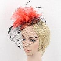 El yapımı Kadınlar Tüy Noktalı Peçe Fascinators Şapka Saç Klip Kırmızı Mor Mavi Donanma Düğün Gelin Tül Firkete Headpieces