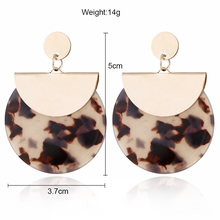 Colorful Resin Acrylic Round Dangle Earrings for Women Unique Design U Shape Statement abalone Earrings Wedding Jewelry(China)