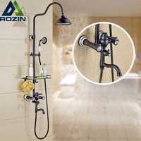 New Shower Faucets Set Bathroom Commodity Shelf And Hangers Wall Mounted Dual Handles 8 Rainfall Shower