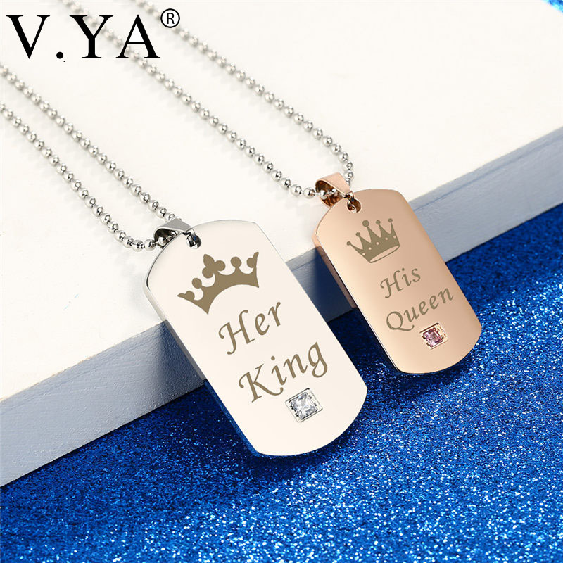 V.Ya Her King & His Queen Couple Necklaces Sliver Black Rose Gold Color Stainless Steel Tag Pendant Stone Necklace Gift Dropship