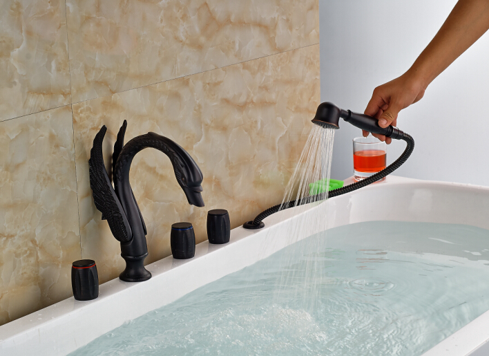 Vessel Sink Oil Rubbed Bronze Bathroom Tub Spout Deck Mounted Hand Sprayer Tap