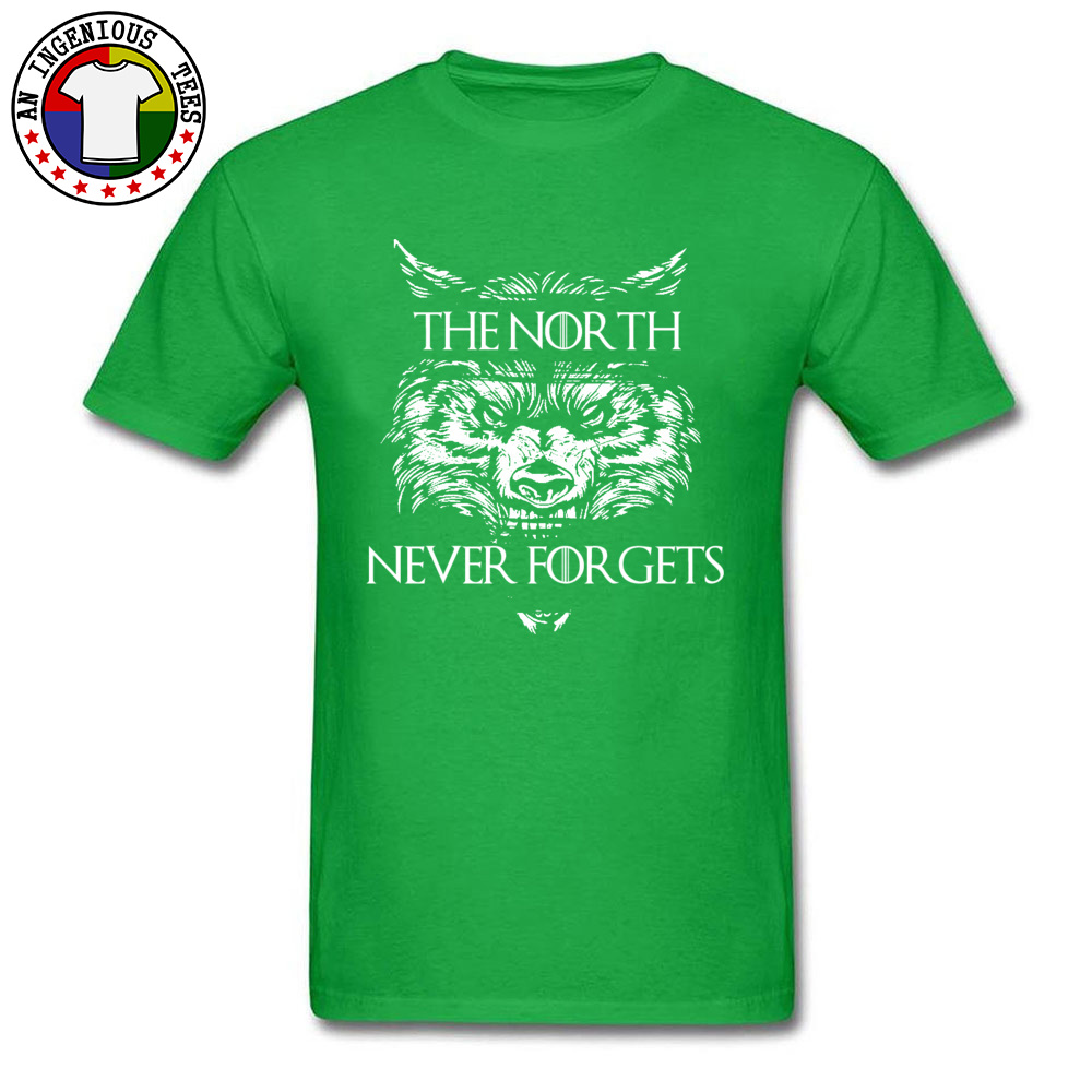 Men T Shirts The-North-Never-Forgets Printing Tops T Shirt Cotton Fabric Round Collar Short Sleeve Slim Fit Tshirts Autumn The-North-Never-Forgets green