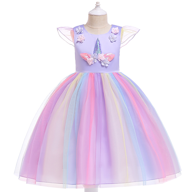 7ace9780e9 Baby Girls Unicorn Tutu Dress Pastel Rainbow Princess Girls Birthday Party  Dress Children Kids Halloween Unicorn Perform Costume