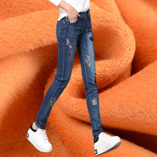 embroidery jeans with embroidery skinny jeans woman jean femme slim bodysuit women korean ulzzang harajuku Pencil vintage