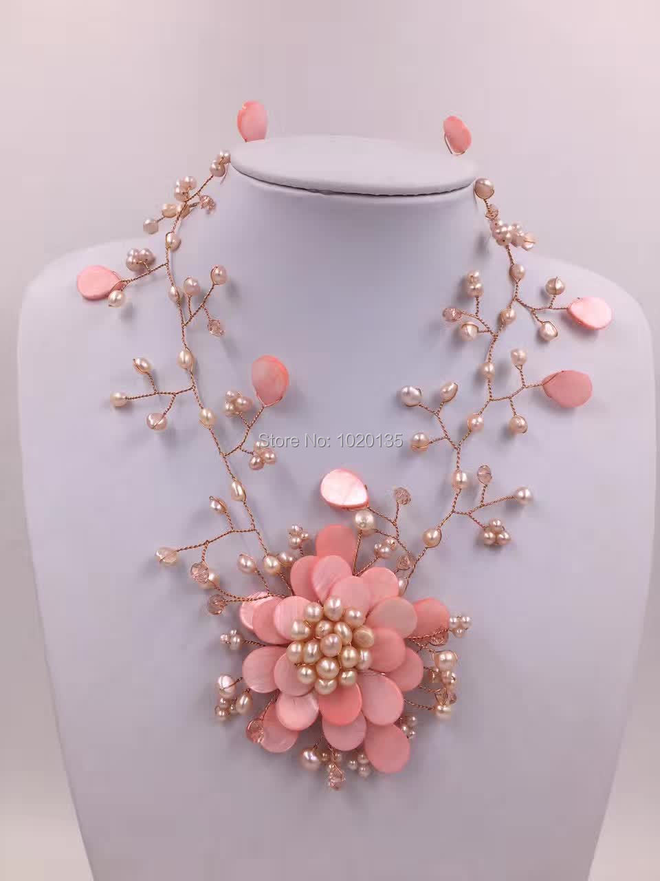 pink  shell flower necklace big fashion  stone faceted freshwater pearl wholesale beads FPPJpink  shell flower necklace big fashion  stone faceted freshwater pearl wholesale beads FPPJ