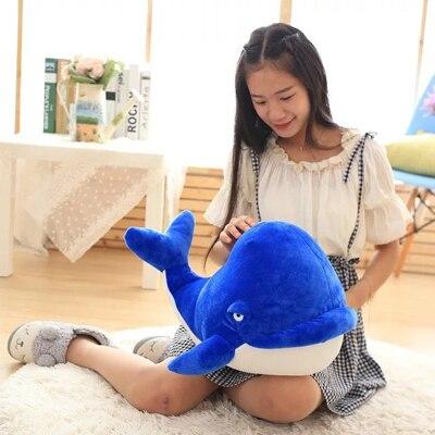 Peluche grand 60 cm bleu foncé baleine oreiller doux cadeau de noël b0897