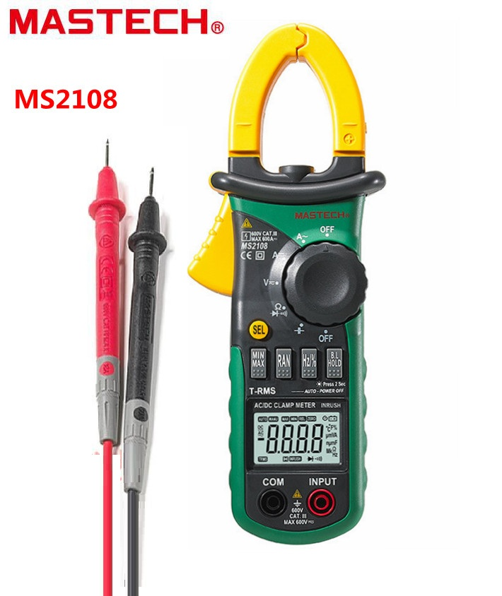 Mastech MS2108 Digital AC/DC Clamp Meter Multimeter True RMS Volt Amp Ohm Cap Herz Multi Tester Over Range Protection Work Light mastech ms8269 digital multimeter ac dc volt amp ohm cap multi tester 20mh 20h inductance meter 20 1000c thermometer
