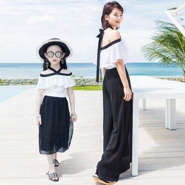 8e05b973624 2017 New Girls Summer Suit Chiffon Strapless Two Piece Suit Jacket + Wide  Leg Pants Girls Set