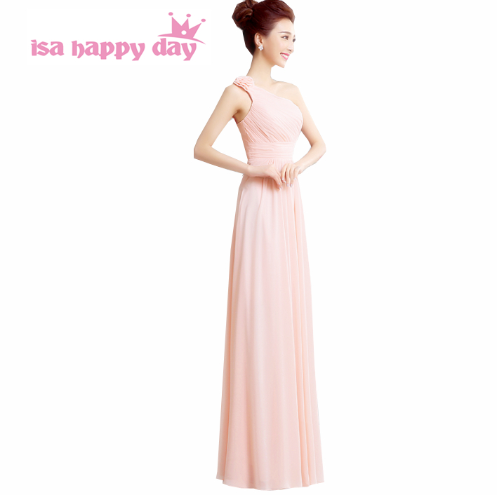 Simple Elegant Bridesmaid Cheap Formal Long A Line Summer One Strap Brides Maids Dress Chiffon Dresses For Wedding Guests H2713