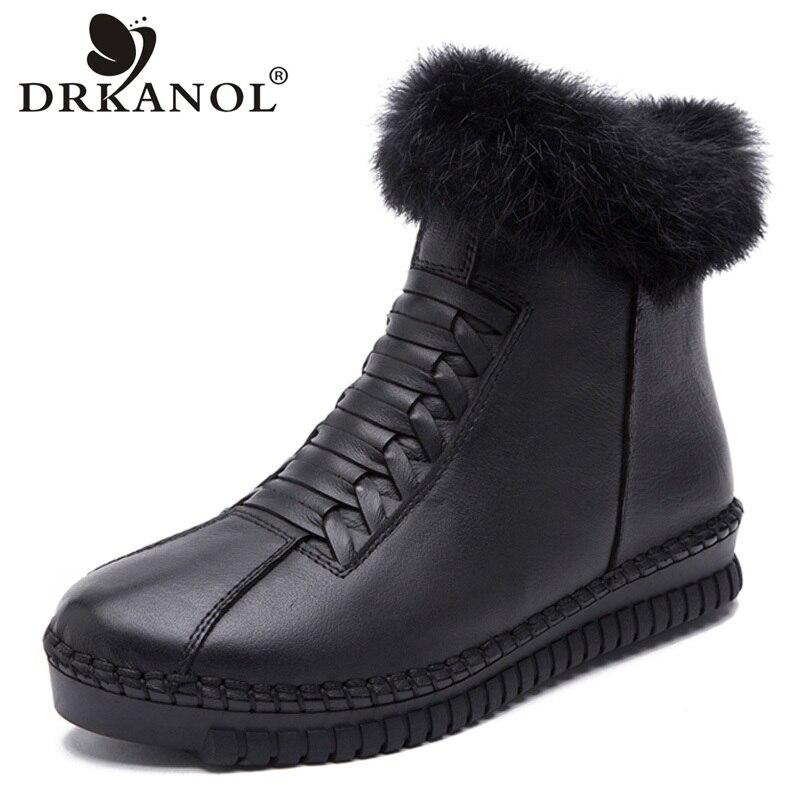 DRKANOL Handmade Genuine Leather Women Boots Rabbit Fur Flat Ankle Boots Women Snow Boots Winter Warm