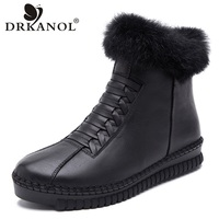 DRKANOL Handmade Genuine Leather Women Boots Rabbit Fur Flat Ankle Boots Women Snow Boots Winter Warm Casual Shoes Botas Mujer