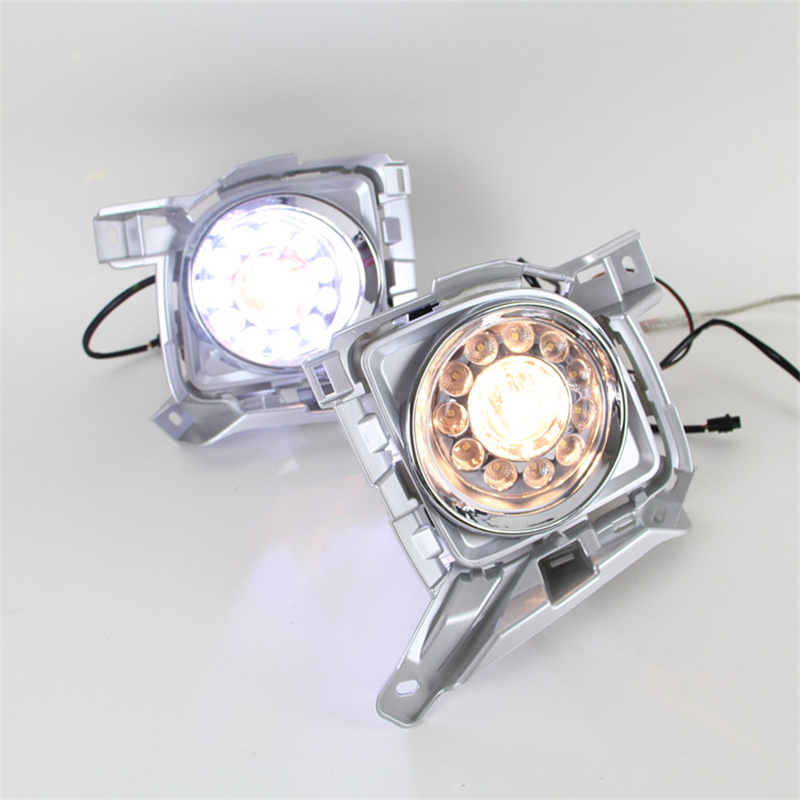 Round Led drl Daytime Running font b Light b font fog lamp assembly wiring harness switch