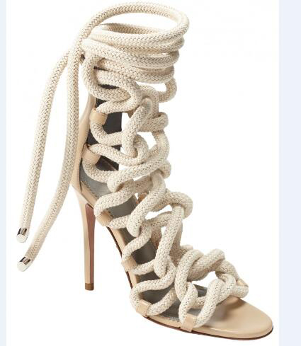 Novelty design women high heel sandals beige shoes open-toe narrow band ankle boots fashion sandals high thin heels catwalk hold