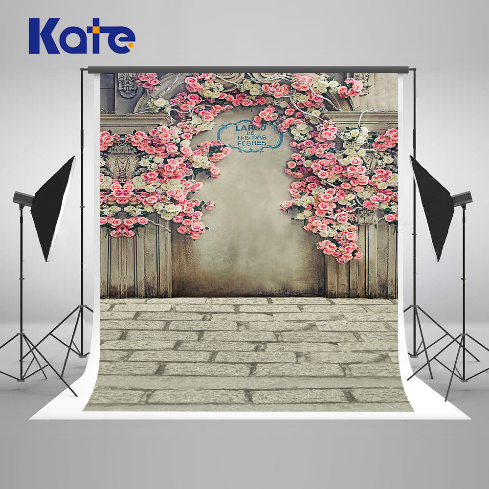 Kate Digital Printing Photography Backdrops Brick Floor Retro Wall Pink Flowers For Wedding Washable Photo Studio Background