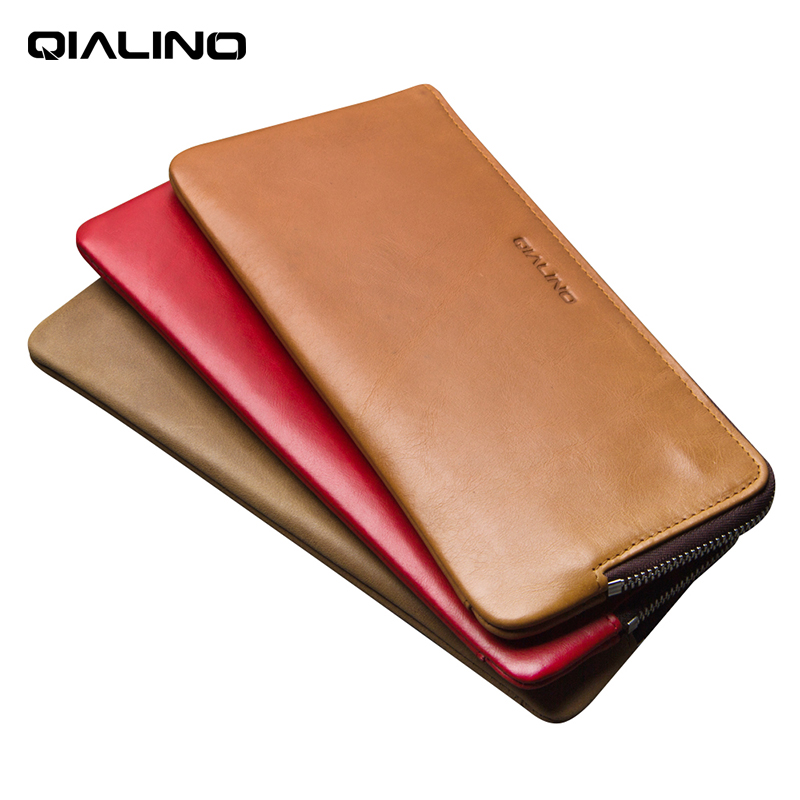 QIALINO luxury Wallet Cover for iphone 7/8 plus Handmade Genuine Leather Case for iPhone iXS Max slots for cards 5.5 inch