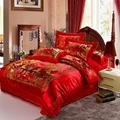 Satin Duvet Cover set Dragon and Phoenix Chinese Red Wedding Bedding set Print Modern suits Jacquard Bedclothes 4pcs/2pcs