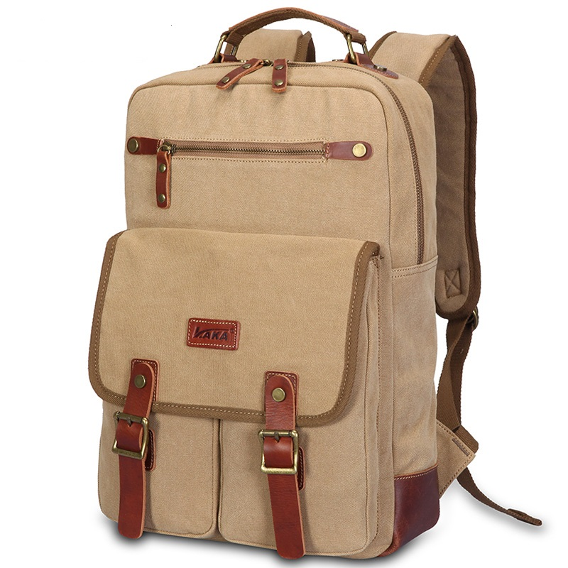 ФОТО  K921 High-grade canvas bag travel bag schoolbags male personality retro casual backpack