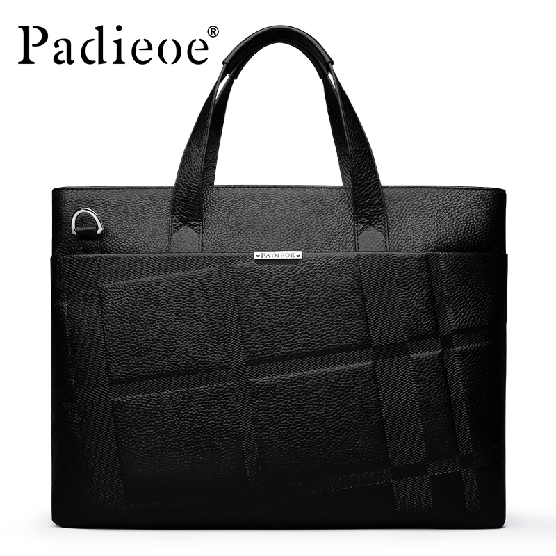Padieoe 2017 New Arrival Mens Shoulder Bag Fashion Genuine Cow Leather Handbag Luxury Durable Business Men Laptop Bag Handbag padieoe new arrival luxury genuine cow leather men handbag business man fashion messenger bag durable shoulder crossbody bags
