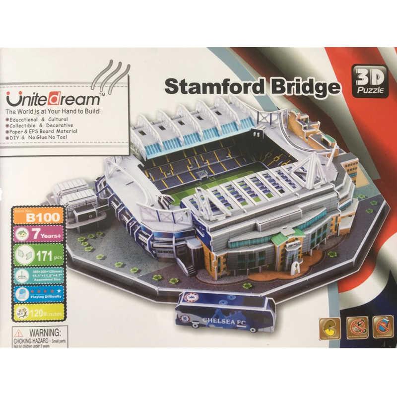 Classico Puzzle di Modelli 3D Regno Unito Stamford Bridge UK RU Concorrenza Partita di Calcio Stadi FAI DA TE Mattone Giocattoli Bilancia di Carta Set