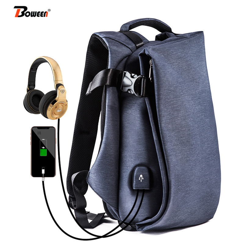 USB Charging Casual backpack men Oxford Fashion trend Music Headphones College Students back pack male leisure
