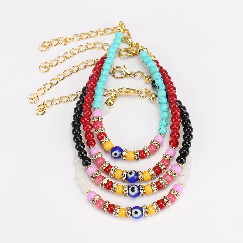New arrival 4 color stone beads with evil eye turkish kabbalah evil eye bracelet glod link chain bracelet