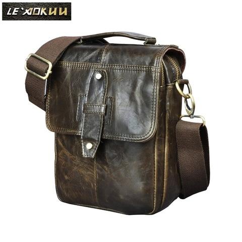 Qualidade de Couro Masculino Design Casual Ombro Stap Messenger Bolsa Moda 8 Tablet Tote Crossbody Mochila Men 153-g