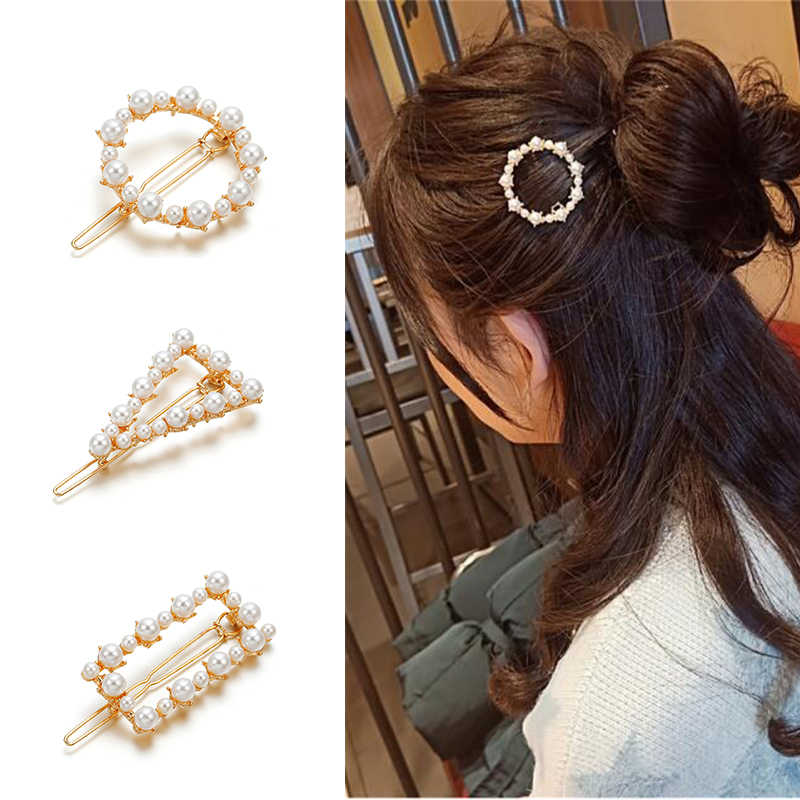 New Fashion Women Metal Pearl Hair Clip For Women Snap Hair Barrette  Round Geometry Hairpin Hair Stick Styling Accessories