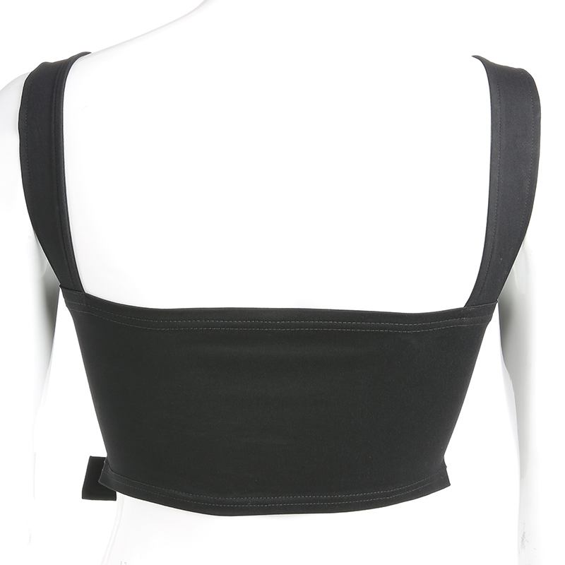 Weekeep Sexy Black Hollow Out Buckle Tank Top Women Cropped Streetwear Backless Tank Tops 2019 Summer
