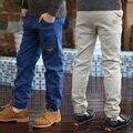 Moda meninos calças criança calças 2017 primavera e no outono 100% algodão criança cor sólida calça casual calças do bebê menino