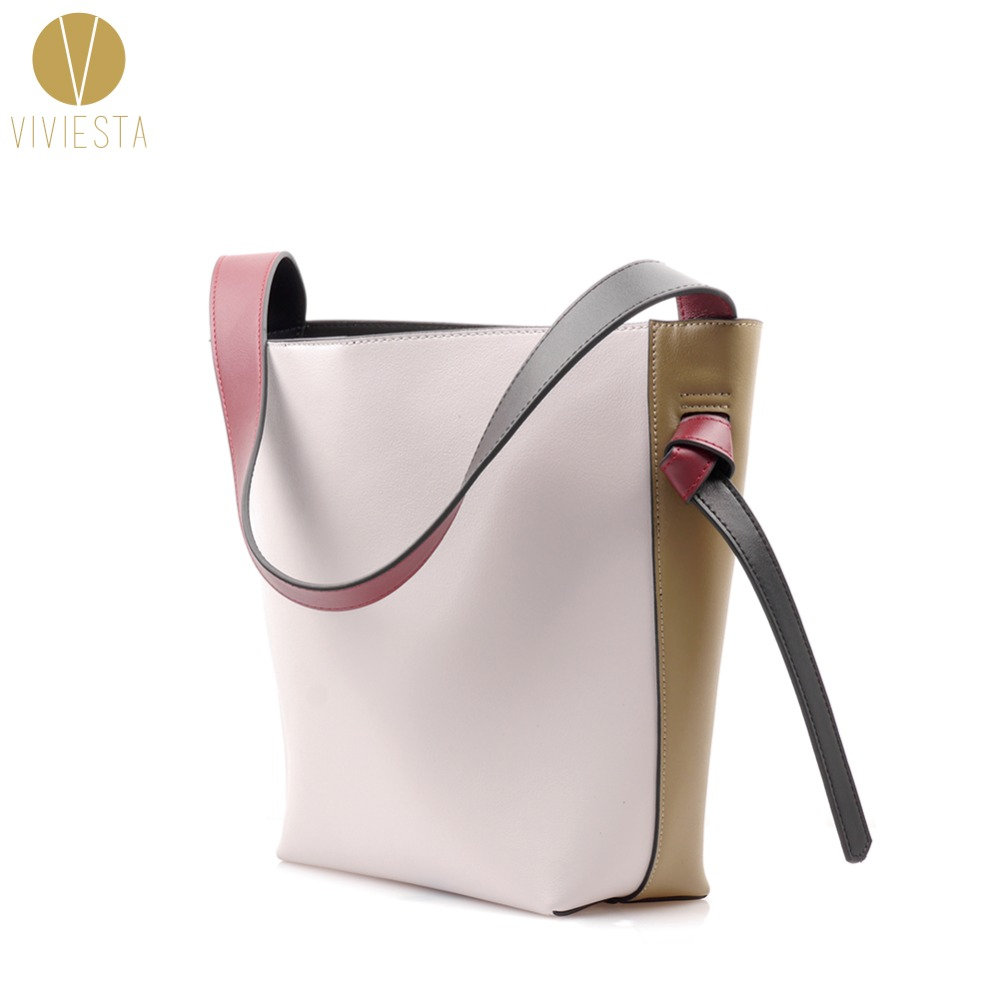 REAL LEATHER TWISTED COLOR BLOCK TOTE - Women's Winter Autumn Two Bi Tone Contrast Colour Shopping Bucket Shoulder Bag Handbag contrast embroidered two tone plush top
