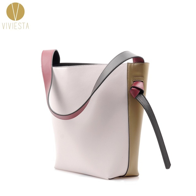 75b91b9a4d11 REAL LEATHER TWISTED COLOR BLOCK TOTE - Women's Winter Autumn Two Bi Tone  Contrast Colour Shopping