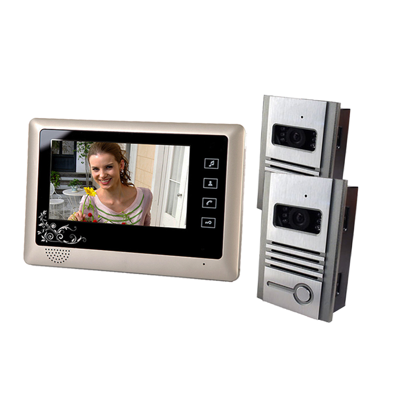 7 Inch Wired Video Door Phone Doorbell Video Entry System Intercom Kit with 2 Camera 1 Monitor Support Night Vision