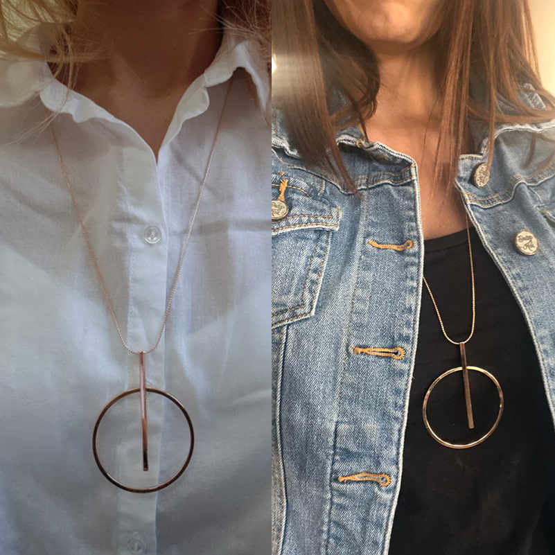 Collar de gran círculo redondo simple para las mujeres Minimalista Círculo de Oro Collar Largo Elegante Collier femme 2019 Joyería de Moda Collar de Cadena Hipoalergénico con Hebilla de Langosta