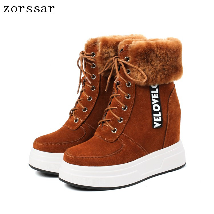 Zorssar 2018 New Winter Warm Fur Women Shoes Woman Snow Boots Ankle Platform Wedge boots Fashion Ladies suede Boot Footwear zorssar 2017 new classic winter plush women boots suede ankle snow boots female warm fur women shoes wedges platform boots