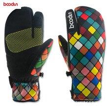 BOODUN Winter Snowboard Gloves for Women Ski Windproof Waterproof Non-slip Skating Skiing Cotton Warm Mittens