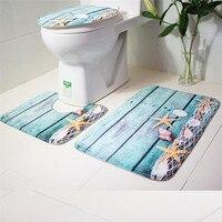 Retro Wood Design Bathroom Toilet Cover Mats Blue Ocean Style Pedestal Toilet Anti Slip Carpet Bath
