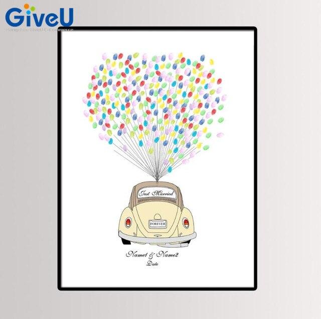 GiveU Personalisierte Hochzeit Auto DIY Fingerabdruck Malerei Nur Verheiratet Hochzeit Gstebuch