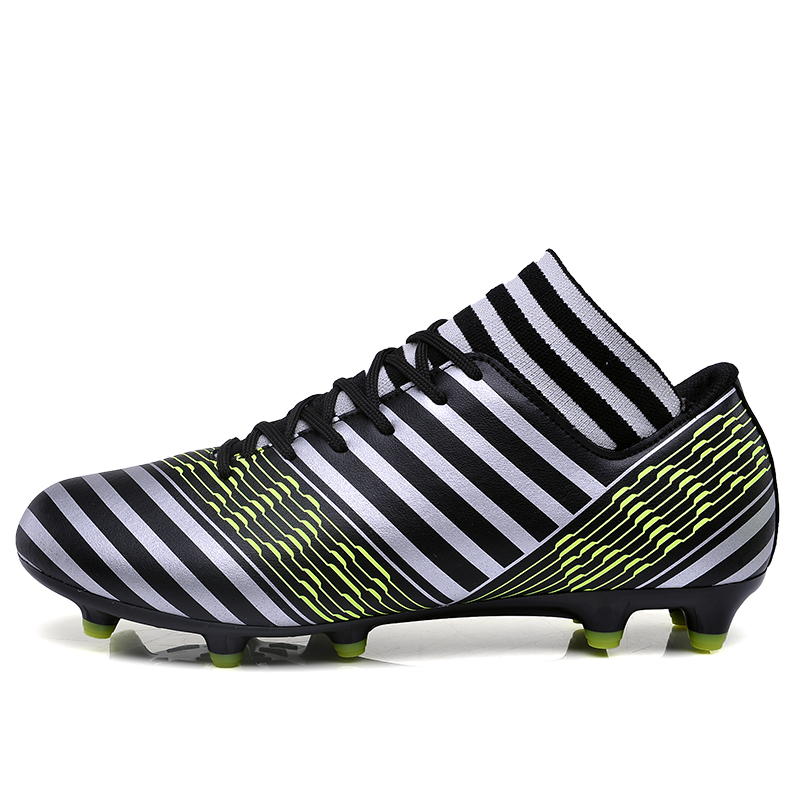 MAULTBY Men's White / Black High Ankle AG Sole Outdoor Cleats Football Boots Shoes Soccer Cleats #S31705B vizari mens sorrento m soccer cleats silver black 93253