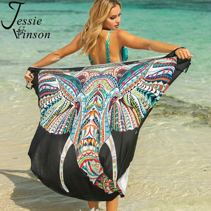 """Женское платье трансформер Jessie Vinson, сарафан с принтом животного, на тонких бретелях """"спагетти"""", без рукавов, накидка, большие размеры, пляжная одежда на летоПлатья   -"""
