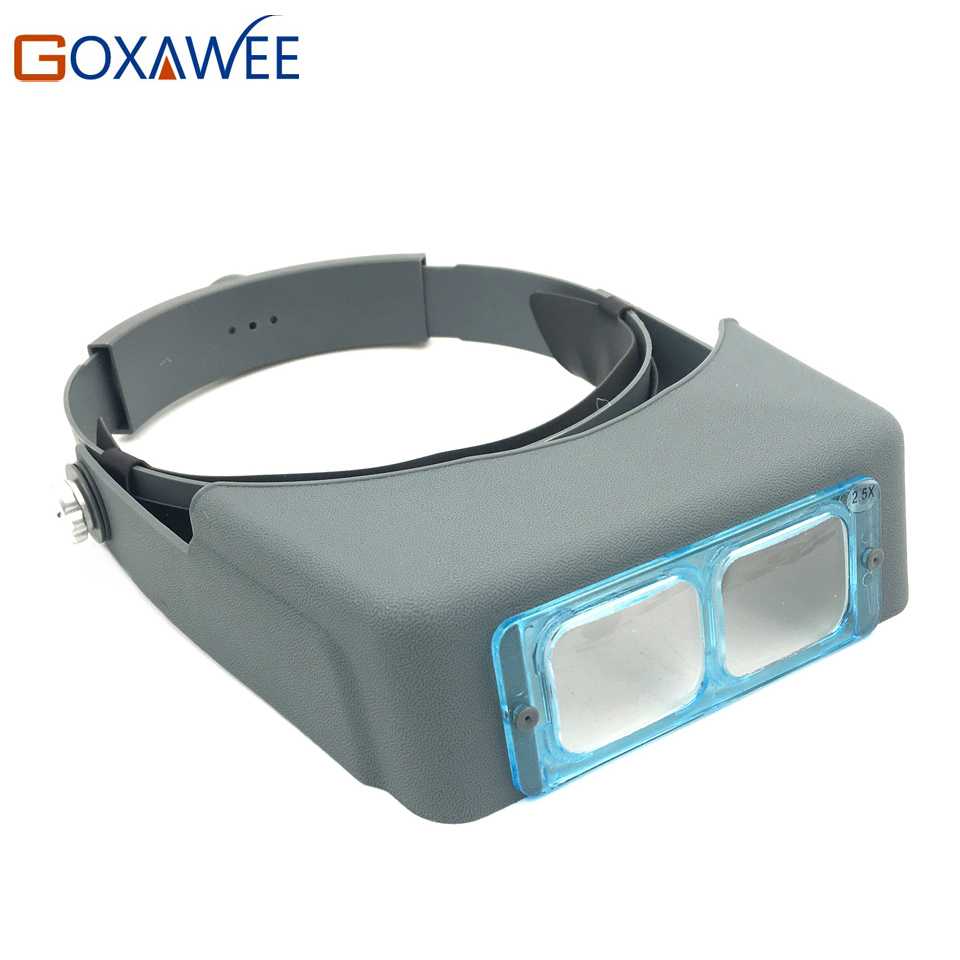 GOXAWEE Double Lens Head-Mounted Headband Reading Magnifier Head Wearing Magnifying Glass Loupe 2.5X Magnifications Glasses ...
