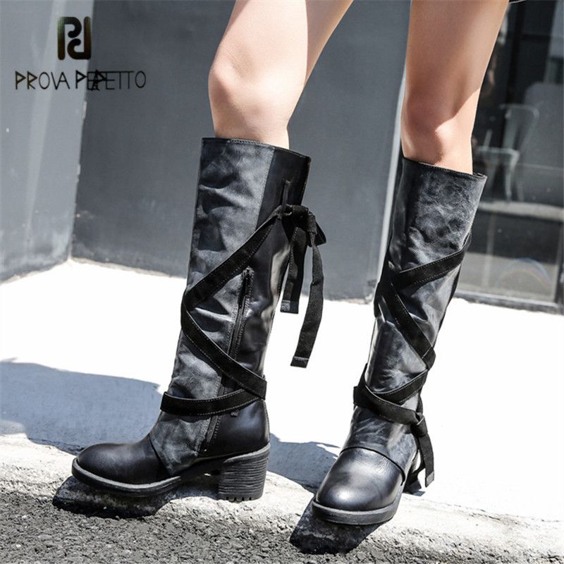 Prova Perfetto Women Knee High Boots Straps Platform Rubber Shoes Woman Chunky High Heel Long Botas Mujer Handmade Martin Boot все цены