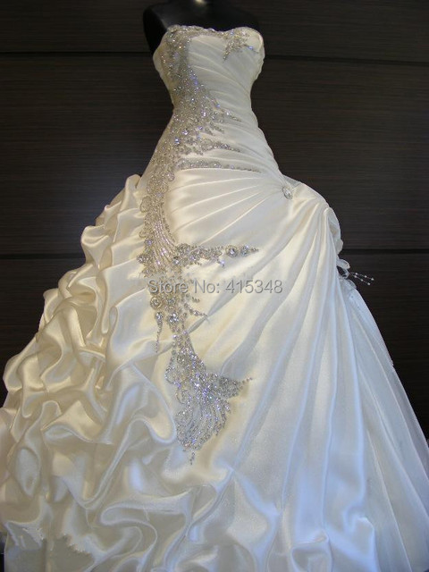 Luxury White Or Ivory Strapless Sparkly Beading Rhinestone Wedding Dress Bride Gown Custom Made Size 2
