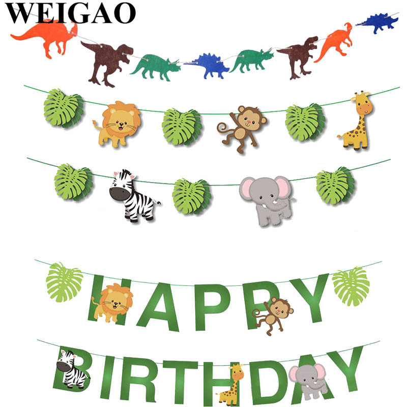 WEIGAO Birthday Jungle Party Garland Zoo Safari Theme Lion Monkey Dinosaur Animal Bunting Garland Kids Birthday Decor Paper Flag