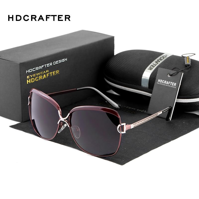 HDCRAFTER 2017 Polarizirana sončna očala Ženska Blagovna znamka Oblikovalec Ženska Retro prevelika sončna očala za ženske oculos de sol feminino