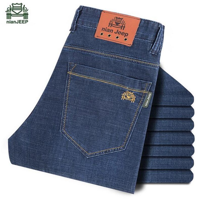NIAN AFS JEEP Winter/Autumn Thick Plaid Casual Washed Denim Trouser,Blue Color Leisure Elasticity slim Jeans,High Qualitity