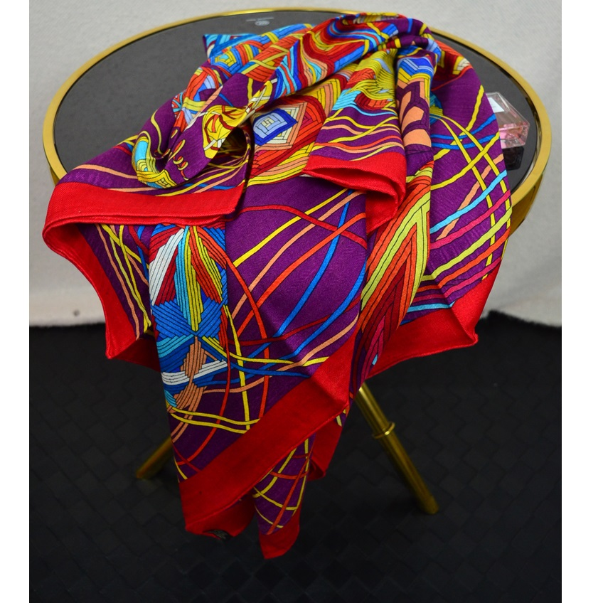 Silk Wool Blend Scarf Women Large Square Shawl Blanket Cape for Winter 133x133cm